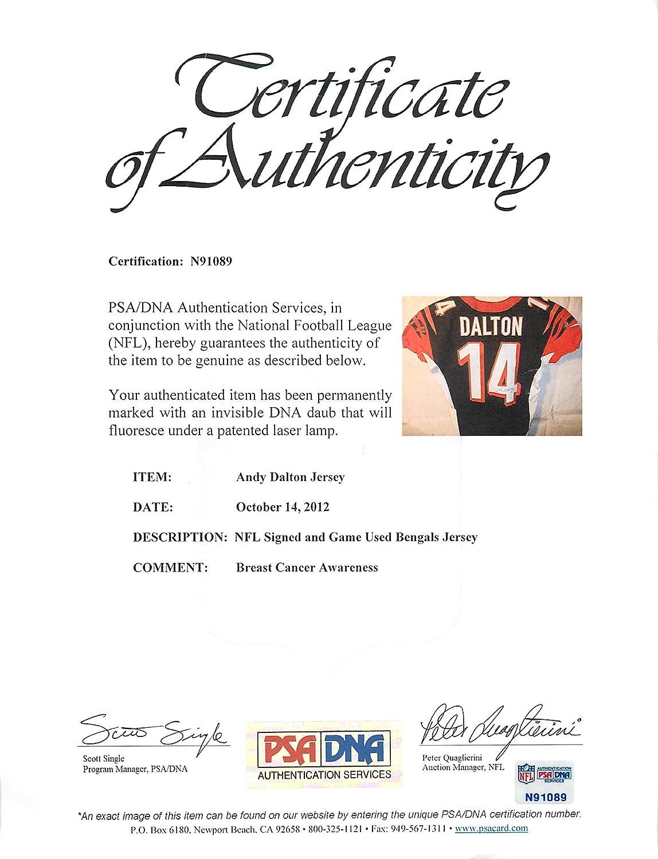 61c82653 Amazon.com: Bengals Andy Dalton Signed 10/14/2012 Game Used Black ...