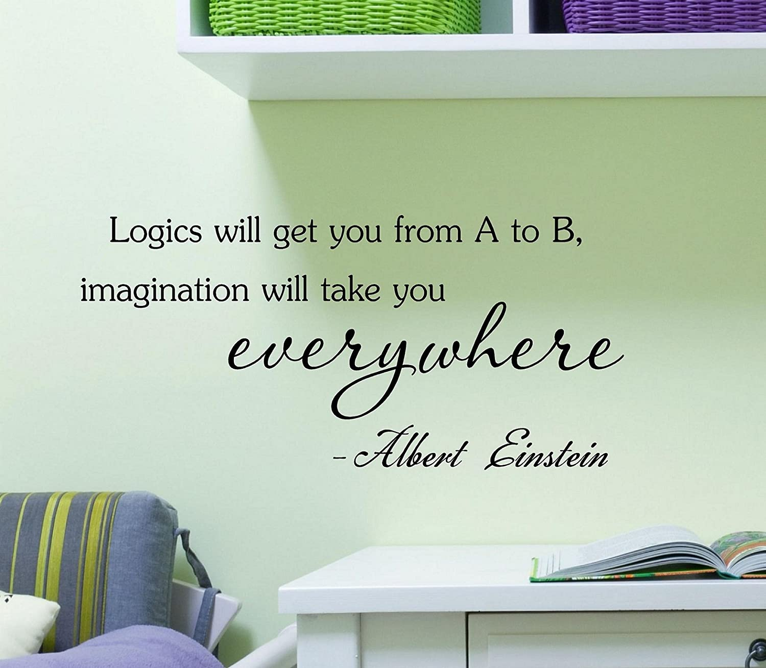 Logics will get you from A to B imagination will take you everywhere - Albert Einstein Vinyl Decal Matte Black Decor Decal Skin Sticker Laptop