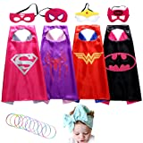 Superhero Costume Girl Cape and Mask set of 4 with Silicone Glow Bracelet and Hair Band