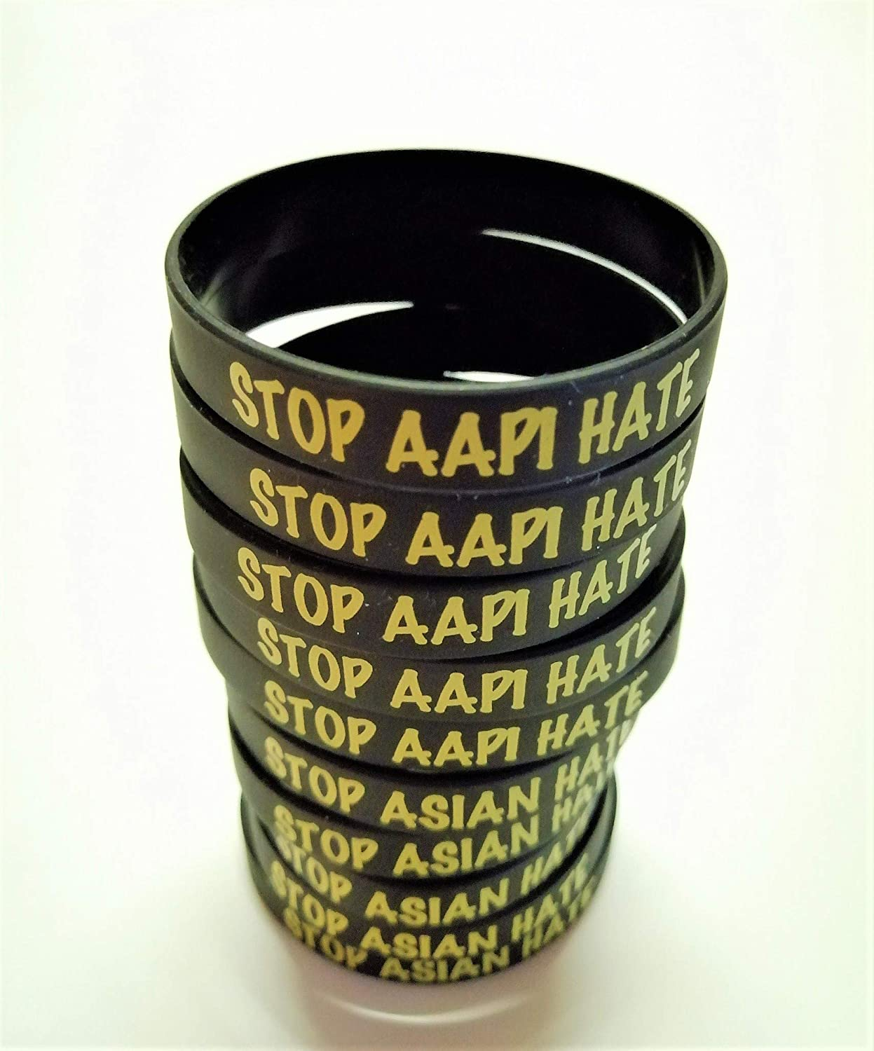 Stop Asian Hate Stop AAPI Hate Silicone Wristband Social Justice for All Support Asian Lives
