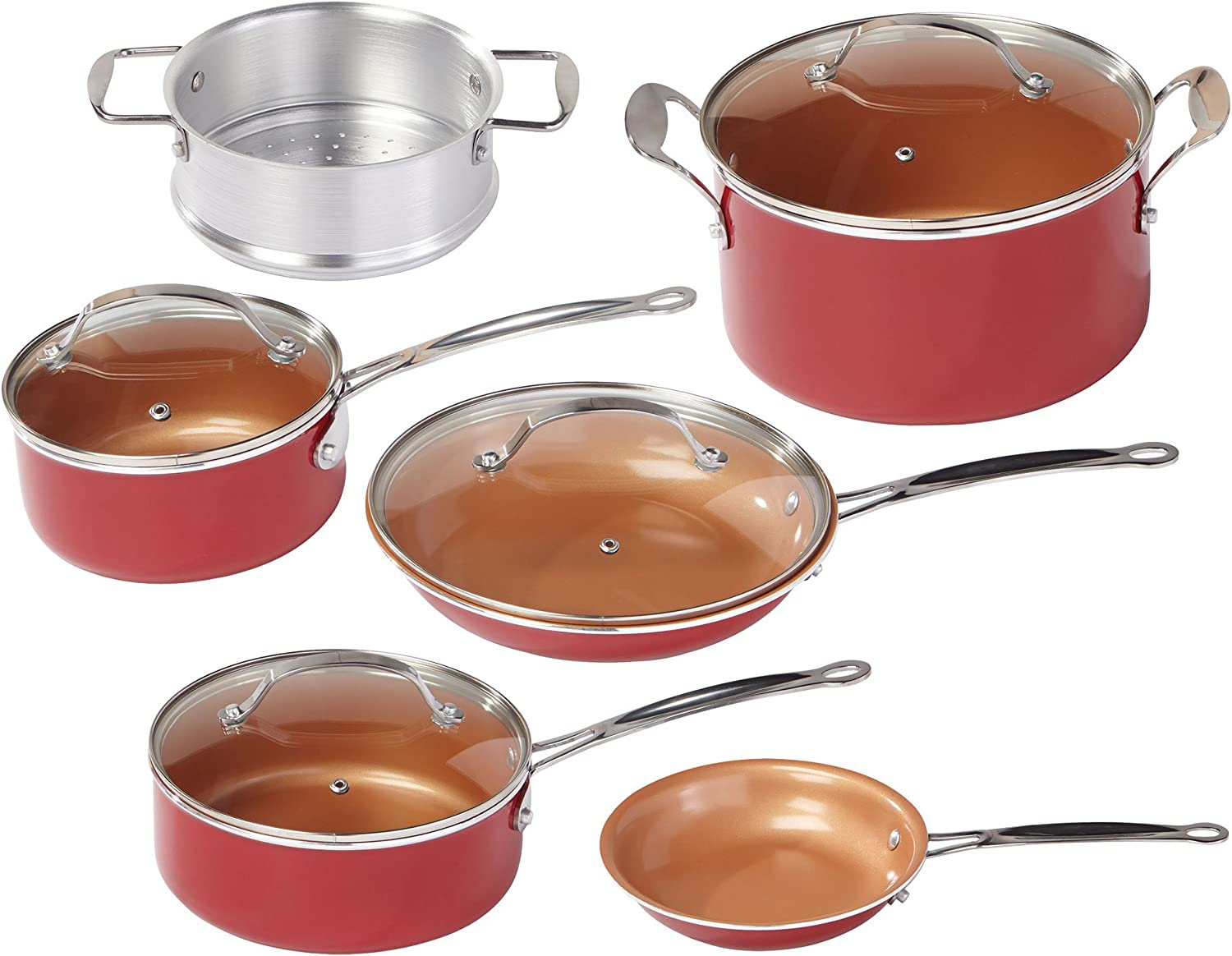 BulbHead Copper-Infused Ceramic Non-Stick Cookware Set (Red Copper Pan)