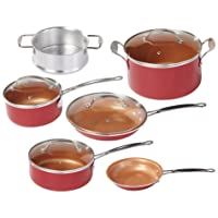 BulbHead Red Copper Ceramic Non-Stick Cookware Set