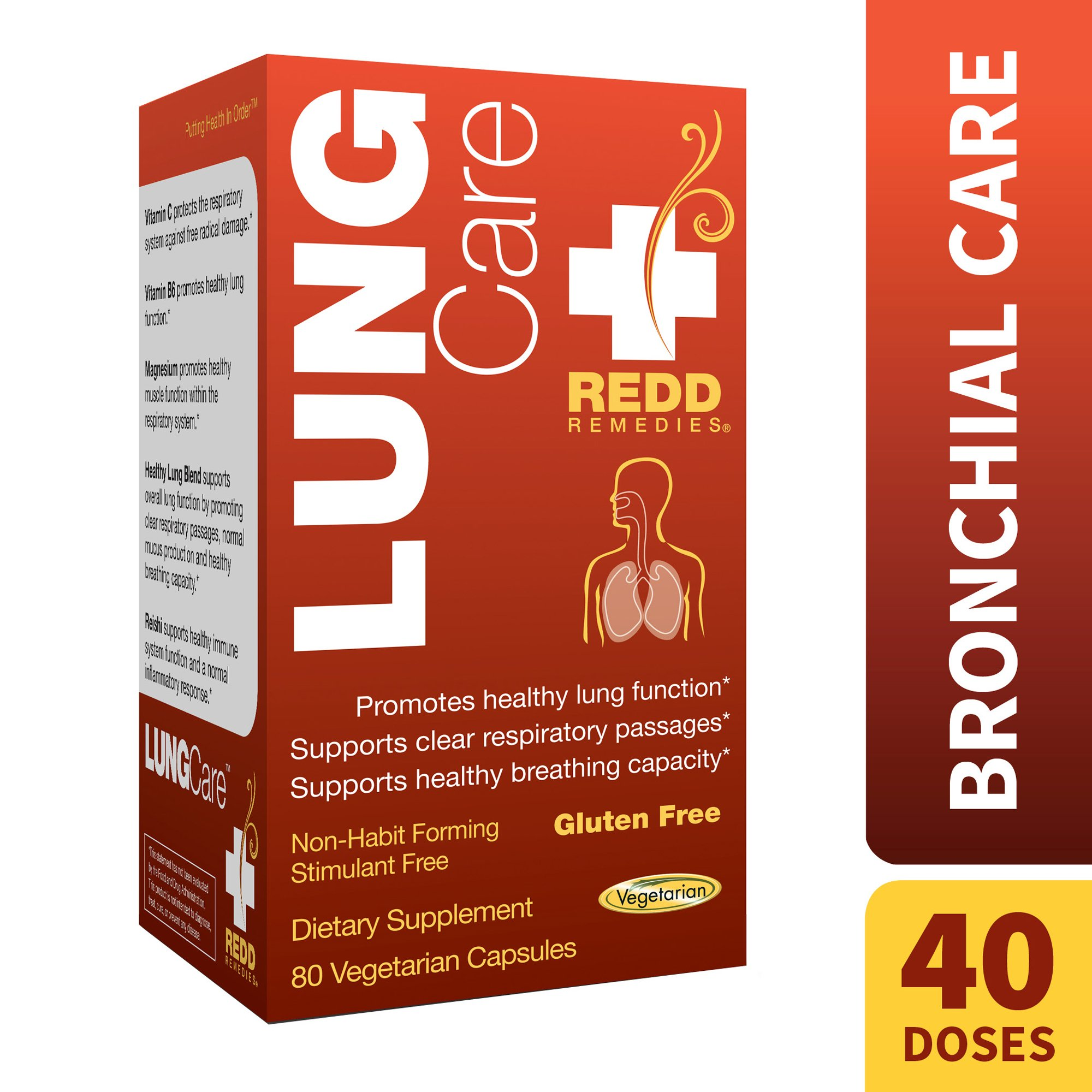 Redd Remedies - Lung Care, Promotes Bronchial Health and Easy Breathing, 80 Count