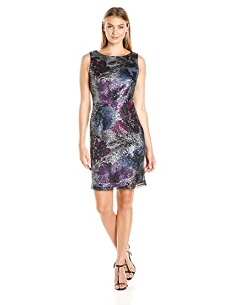 453c75f88e5 Sandra Darren Women s Sd Collection Pattern Sequin Dress at Amazon Women s  Clothing store