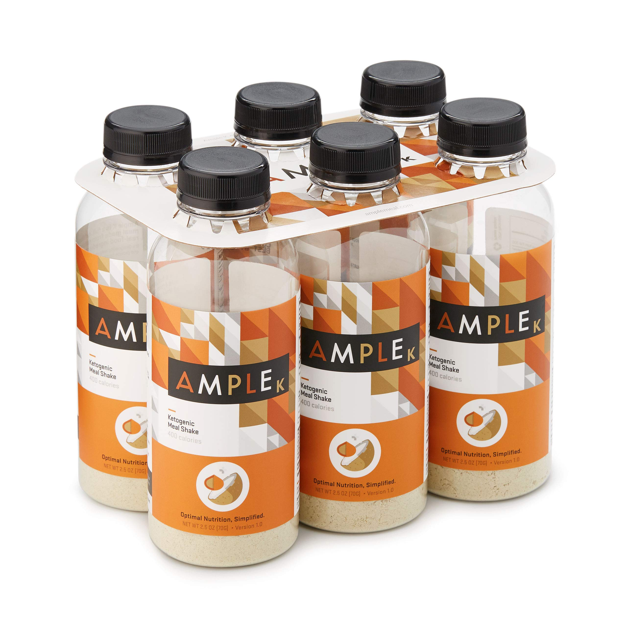 Ketogenic Meal Replacement Shake with only 3g Net Carbs in a Bottle, (Pack of 6) Meals, Regular 400 Calories, Made with Natural Real Food Ingredients. Ample K Ketogenic Formula
