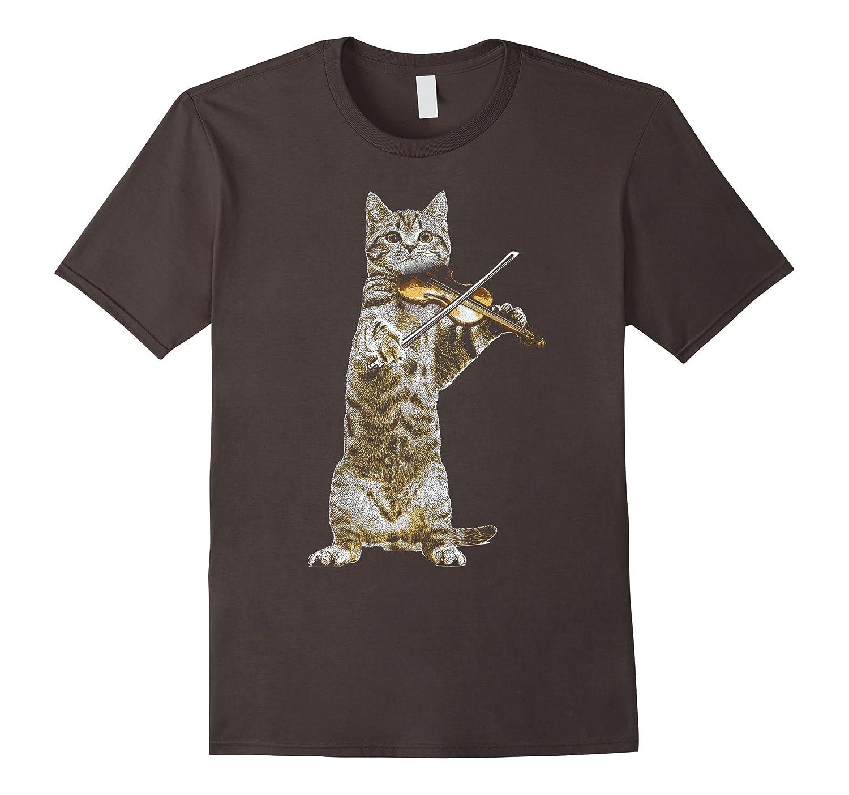 d7a0d48c Cat Playing Violin T-shirt Cool Musician Fiddle-TH - TEEHELEN