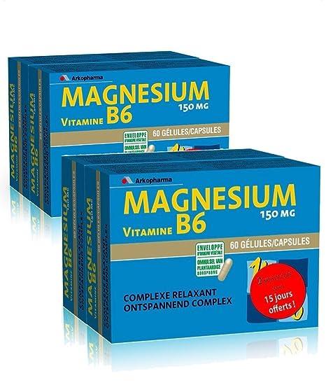 Arkopharma Magnésium B6 Lot de 4 x 60 Gélules: Amazon.es: Salud y cuidado personal