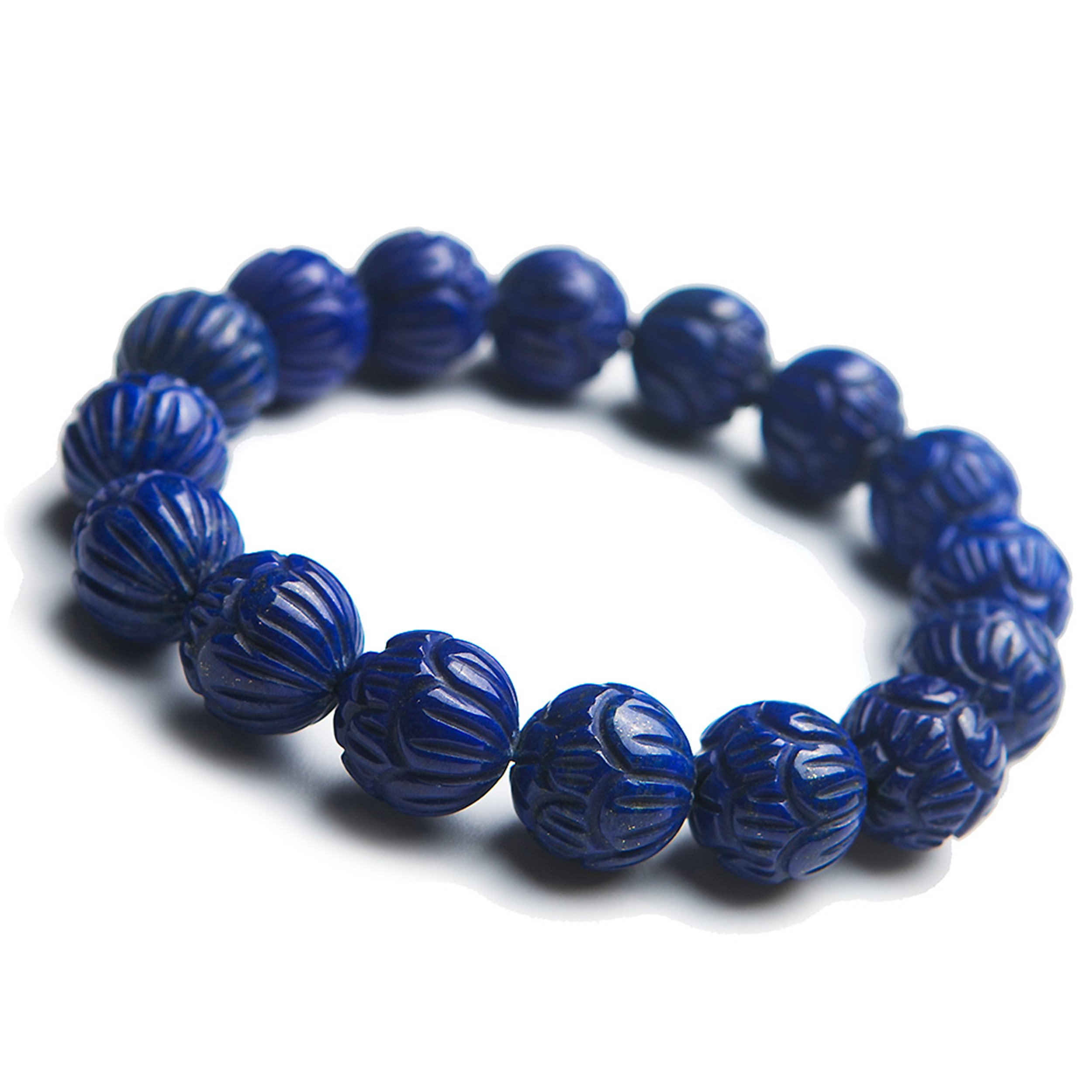 Genuine Blue Natural Lapis Lazuli Gemstone Crystal Round Bead Stretch Bracelet 13mm
