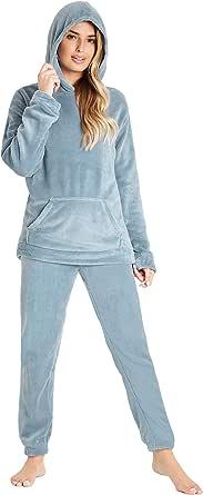 CityComfort Pijamas Mujer, Pijama Mujer Invierno de Forro Polar, Conjunto con Camiseta y Pantalon Largo, Regalos para Mujer, Talla S-XL