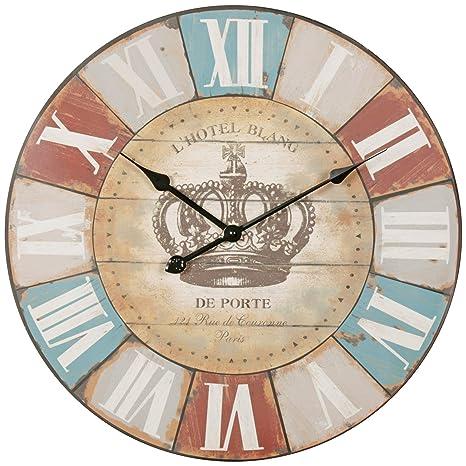 Wohnling Decoración Vintage Reloj de Pared XXL Diámetro 60 cm Hotel Blance marrón Números Romanos |
