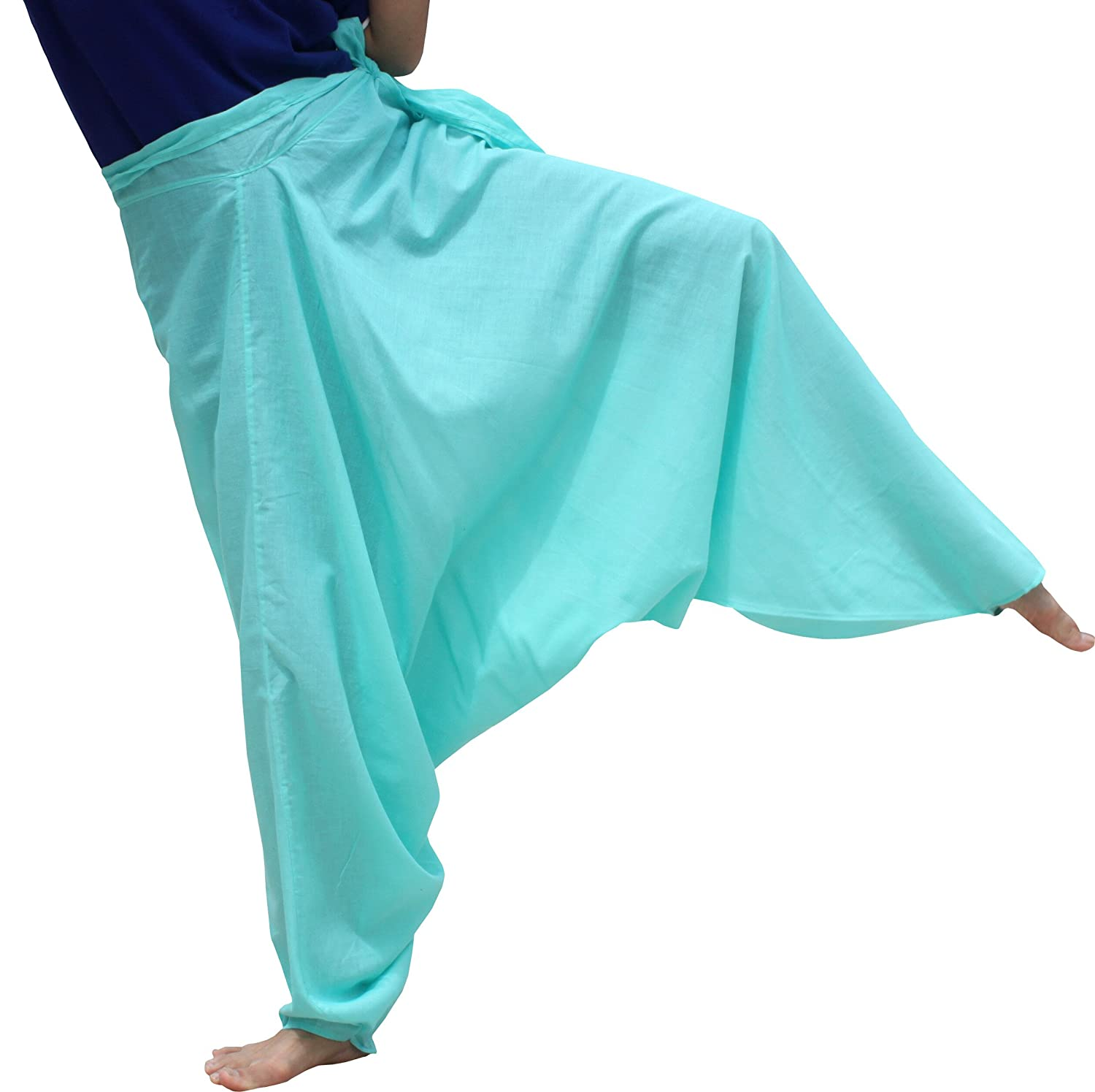 Saloo Cotton  Teal Green Medium Raan Pah Muang Mixed Cotton Mao Hill Tribe Pants Side Tie