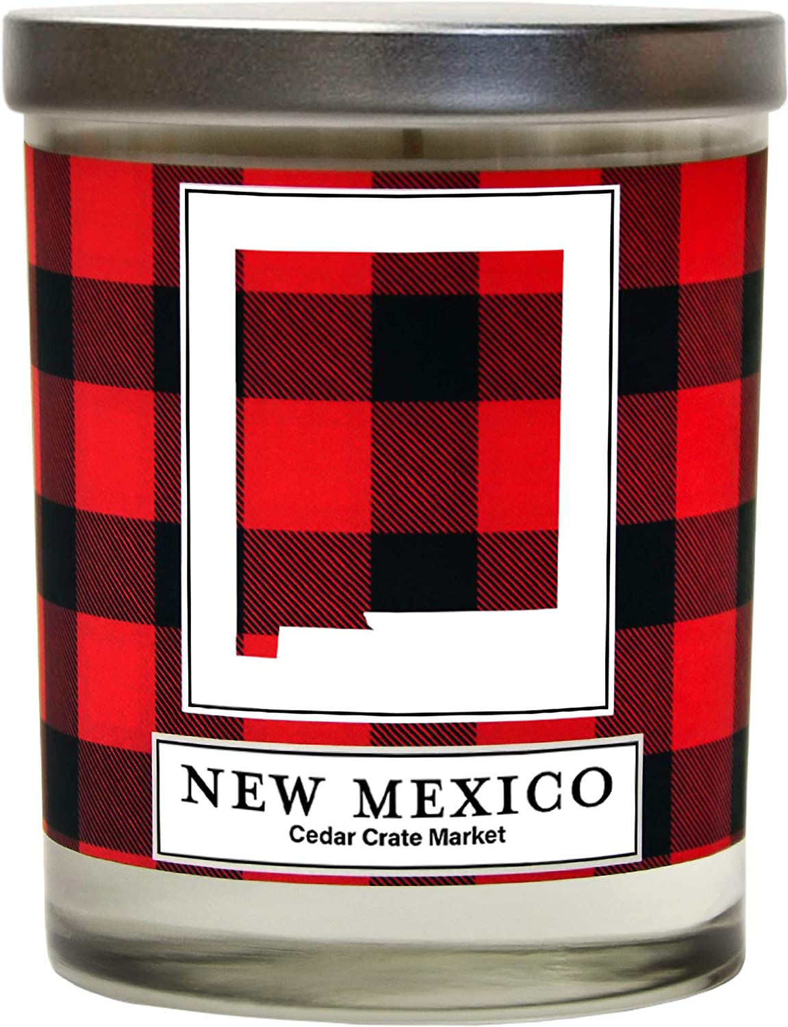 New Mexico Buffalo Plaid Scented Soy Candle | Fraser Fir, Pine Needle, Cedarwood | 10 Oz. Glass Jar Candle | Made in The USA | Decorative Candles | Going Away Gifts for Friends | State Candles