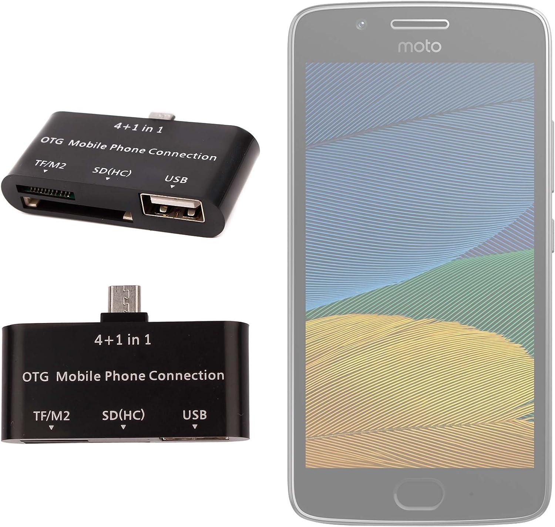 DURAGADGET Lector De Tarjetas para Smartphone Motorola Moto G5 Plus, Moto G5 OTG 4 En 1: Amazon.es: Electrónica