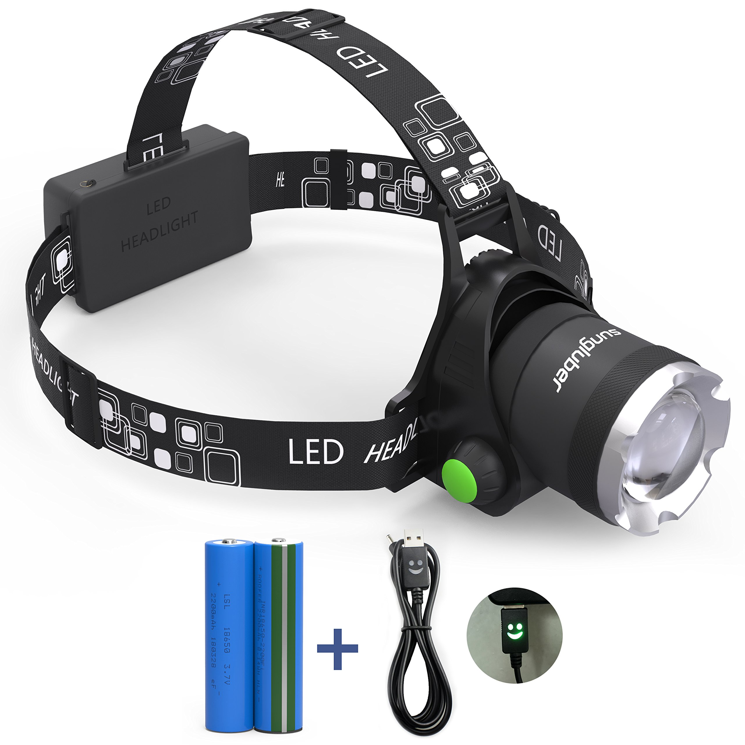 Headlamp, Sungluber 3 Modes Super Bright LED Headlight, Waterproof Flashlight with 90º Moving Zoomable 2Pack Rechargeable 18650 Battery Adjustable Headband by Sungluber (Image #4)