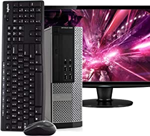 "Dell OptiPlex 9020 Space Saving Small Form Desktop PC Computer, Intel i5, 8GB RAM, 500GB HDD, Windows 10 Pro, 24"" LCD Monitor, Wireless Keyboard & Mouse, New 16GB Flash Drive, DVD, WiFi (Renewed)"