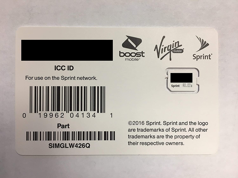 Sprint Boost Virgin Mobile Nano SIM Card ICCID SIMGLW426Q iPhone 8, 8+, iPhone X