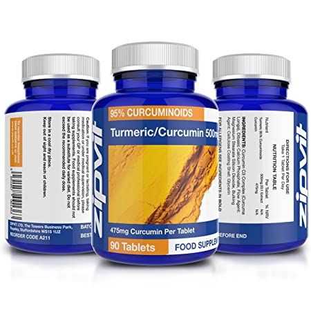 Cúrcuma Curcumina | 90 comprimidos | La potencia más alta, 475mg de curcumina por comprimido | Alivio del dolor articular y la artritis | 10.000mg de ...
