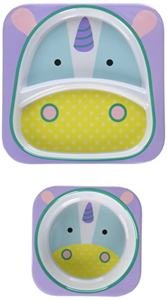 Skip Hop Baby Zoo Little Kid And Toddler Feeding Melamine Divided Plate And  Bowl Mealtime Set