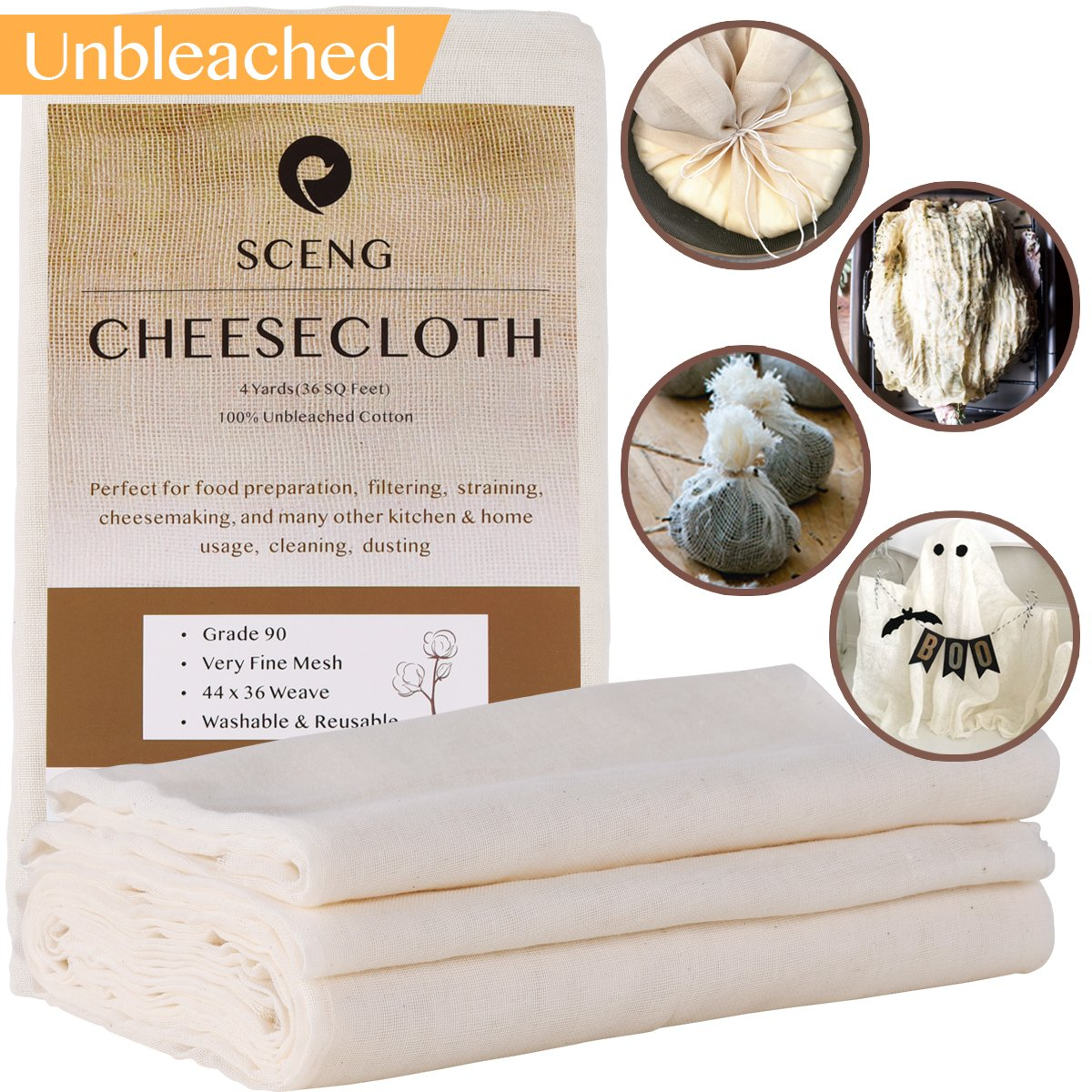 Cheesecloth, Grade 90, 36 Sq Feet, Reusable, 100% Unbleached Cotton Fabric, Ultra Fine Cheesecloth for Cooking - Nut Milk Bag, Strainer, Filter (Grade 90-4Yards) SCENG 4Yards-cheesecloth
