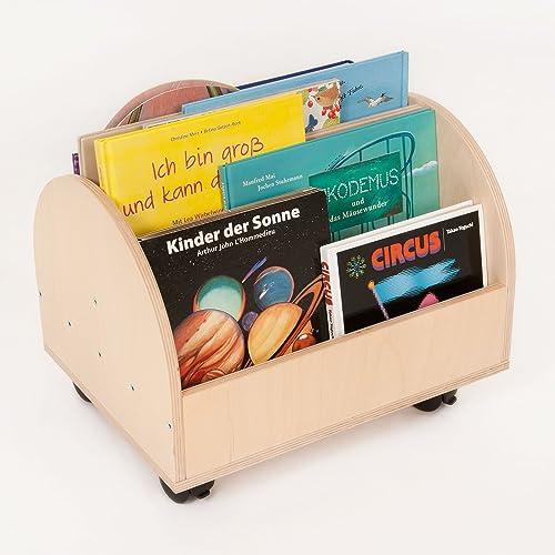 FLIXI Bücherkiste aus Birkenholz | Kinder Bücherregale mit Rollen