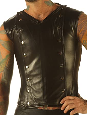 cd43535457 Mens Full Grain Leather Vest Steampunk Waistcoat Victorian Steel Boned Shirt  VC9 (Made To Measure)  Amazon.co.uk  Clothing