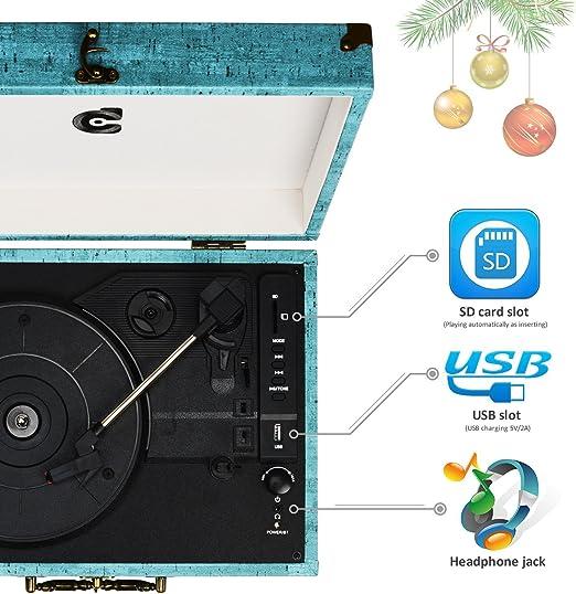 wockoder Tocadiscos vinilo Tocadiscos maletín retro Bluetooth USB ...