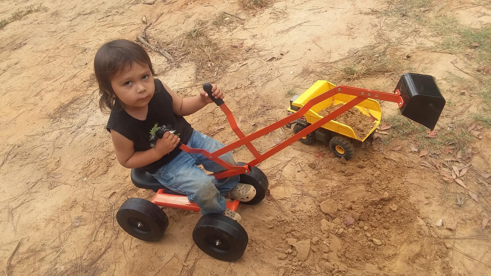 Kids Ride On Sandbox Digger Toys Little Sandbox Excavator for Boys and Girls, Orange photo review