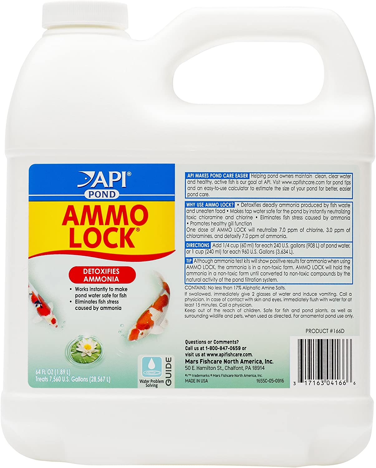 API Pond Ammo-Lock Ammonia detoxifier, Detoxifies Ammonia in Pond Water and tap Water with Natural Active Ingredients, Use Every Two Days Until Ammonia is not Detected