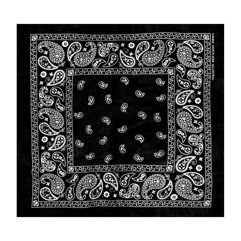 L&M 12Pcs Bandanas 100% Cotton Paisley Print Head Wrap Scarf Wristband (Black)