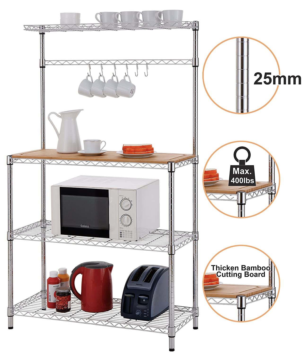 Finnhomy 14x36x61 4-Tiers Adjustable Kitchen Bakers Rack Kitchen Cart Microwave Stand with Chrome Shelves and Thicken Bamboo Cutting Board F20HK3MR7006