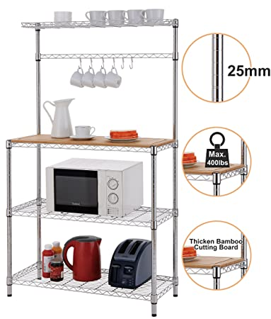 Finnhomy 14x36x61 4-Tiers Adjustable Kitchen Bakers Rack Kitchen Cart  Microwave Stand with Chrome Shelves and Thicken Bamboo Cutting Board