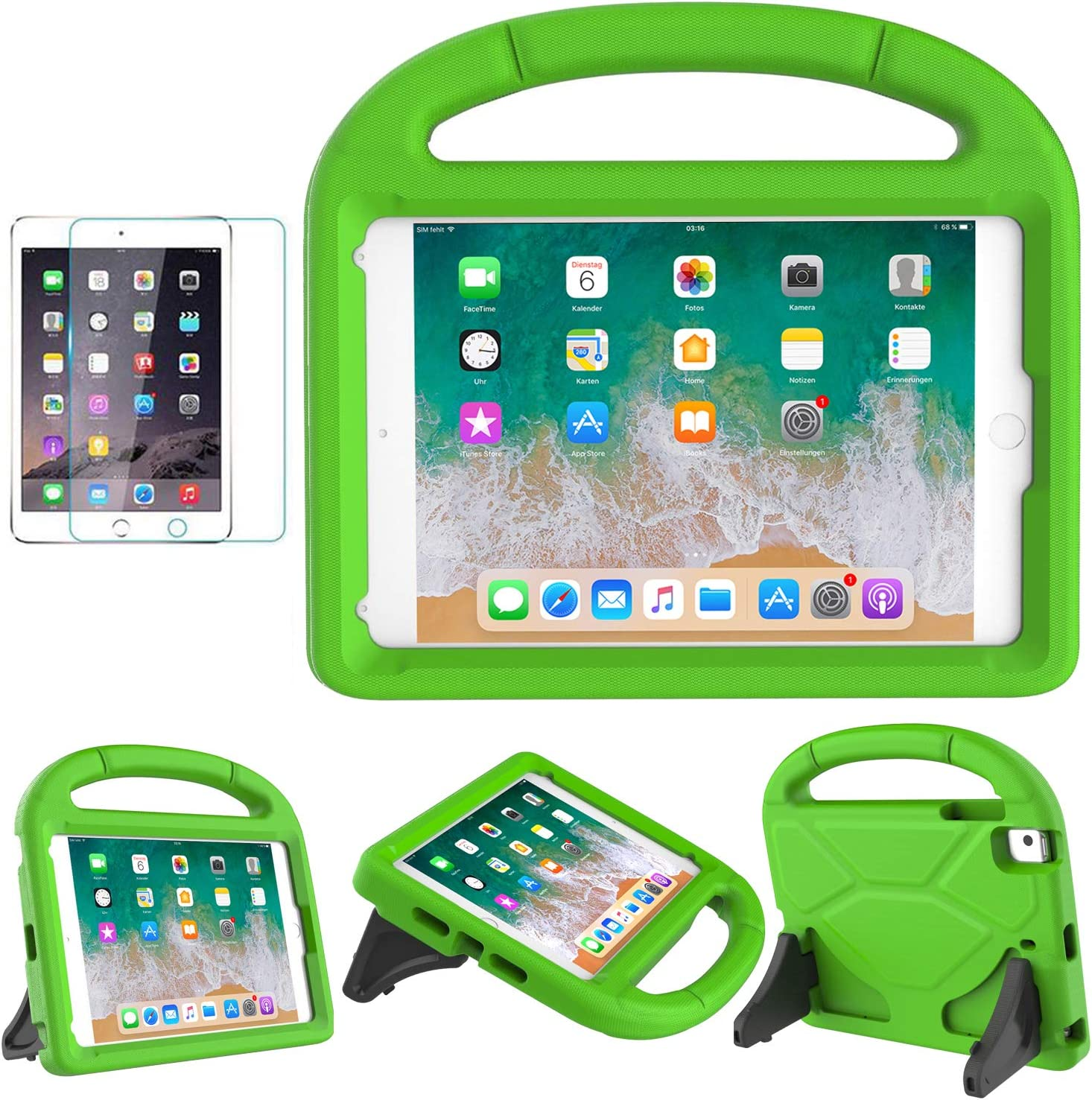 MOXOTEK Kids Case for iPad Mini 5/4/3/2/1, Durable Shockproof Protective Handle Stand Bumper Cover with Screen Protector for Apple 7.9-inch iPad Mini 5th(2019) 4th 3rd 2nd 1st Generation, Green