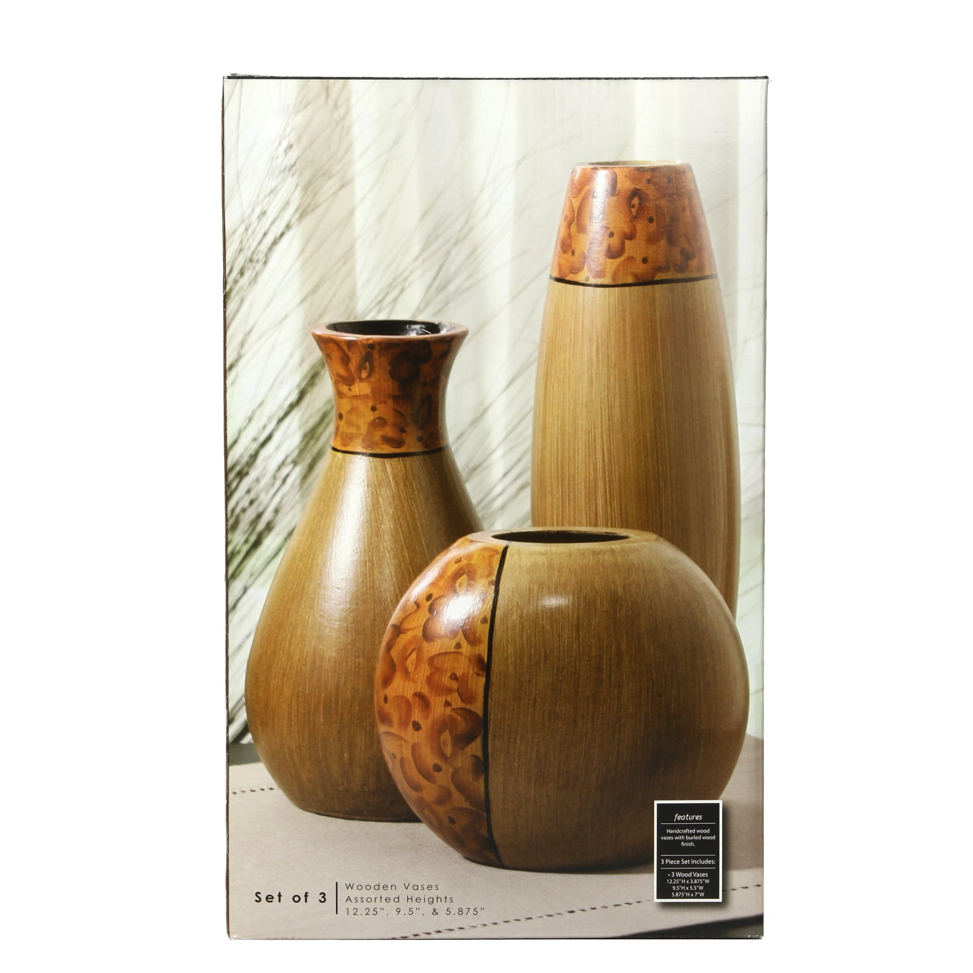 Hosley's Set of 3 Burlwood Vases. Ideal Gift for Wedding or Special Occasion and for Home Office, Decor, Floor Vases, Spa, Aromatherapy Settings O3 by Hosley (Image #2)