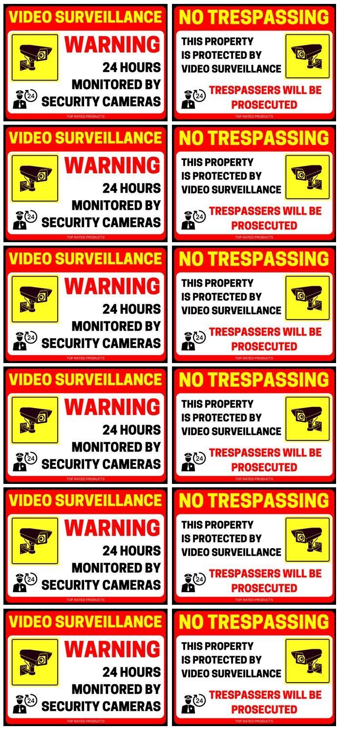 ( 12パック) 24 Hour Video Surveillance Sign ( 6 Count ) & No Trespassing違反者は最大限( 6 Count )デカール自己粘着
