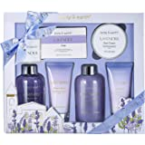 Bath and Body Gift Set - Luxurious 6 Pcs Bath Kit for Women, Body & Earth Spa Set with Lavender Scent - Bubble Bath, Shower G