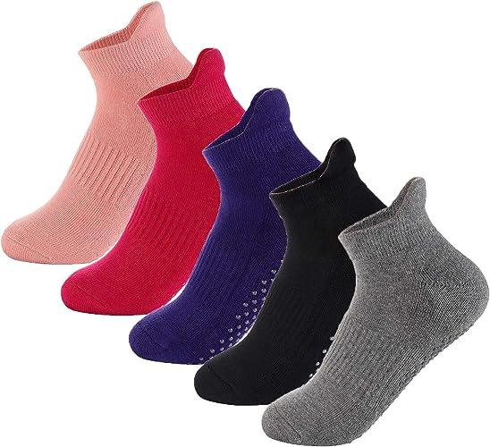 LOLIAS 5 Pairs Barre Yoga Socks for Women Non-Slip Grips & Straps Socks Pilates Ballet Dance