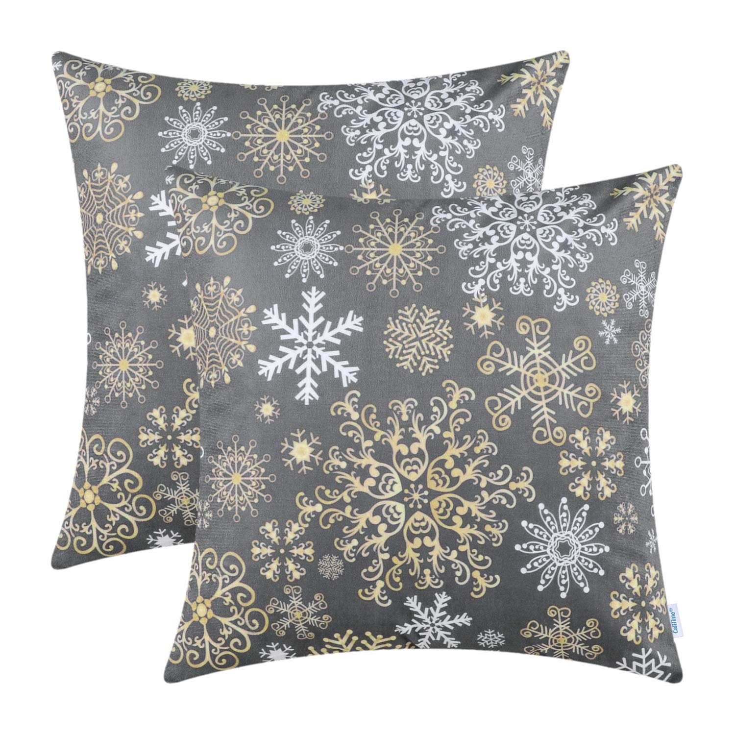 CaliTime Pack of 2 Cozy Fleece Throw Pillow Cases Covers for Couch Bed Sofa Christmas Snowflakes Both Sides 18 X 18 Inches Medium Grey