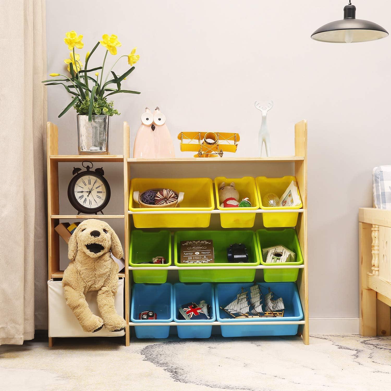 MALLBOO 4-Tier Kids Toy Storage Organizer Shelf Soild Wood,Childrens Storage Cabinet with 9 Plastic Bins and 1 Cloth Storage Box