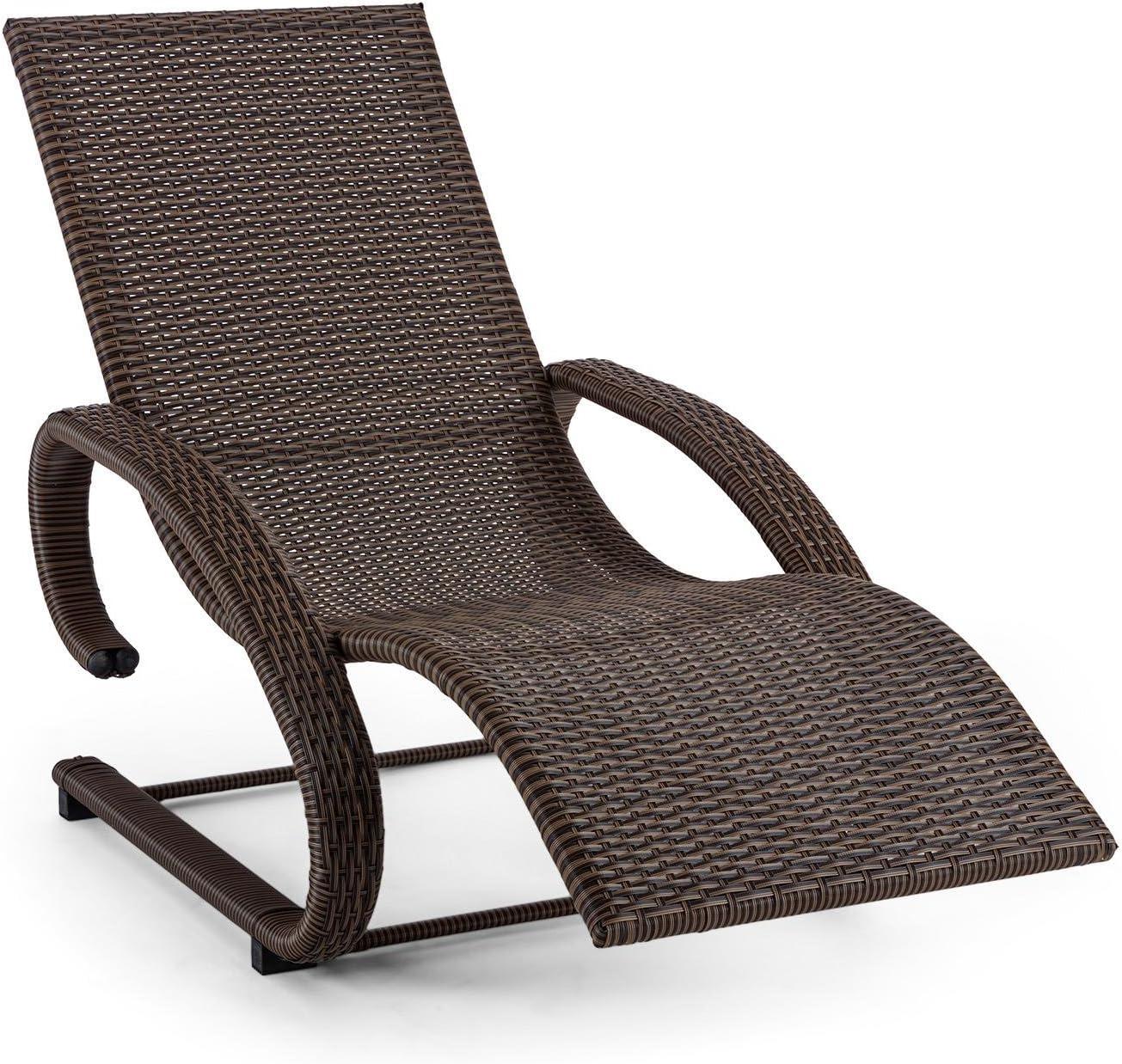 73 cm breit Relaxliege Schwingliege witterungsbest/ändig Gartenliege Rattan-Optik ergonomisch wasserresistent Sonnenliege grau schmutzabweisend blumfeldt Daybreak 100 kg max