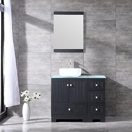 Sliverylake 36 Bathroom Vanity Ceramic Vessel Sink Combo Pvc Cover