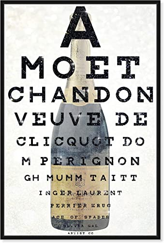 The Oliver Gal Artist Co. Drinks and Spirits Framed Wall Art Canvas Prints Eye Chart' Champagne Home D cor