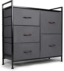 ODK Dresser with 5 Drawers, Fabric Storage Tower, Organizer Unit for Bedroom, Chest for Hallway, Closet. Steel Frame and Wood Top, Dark Grey