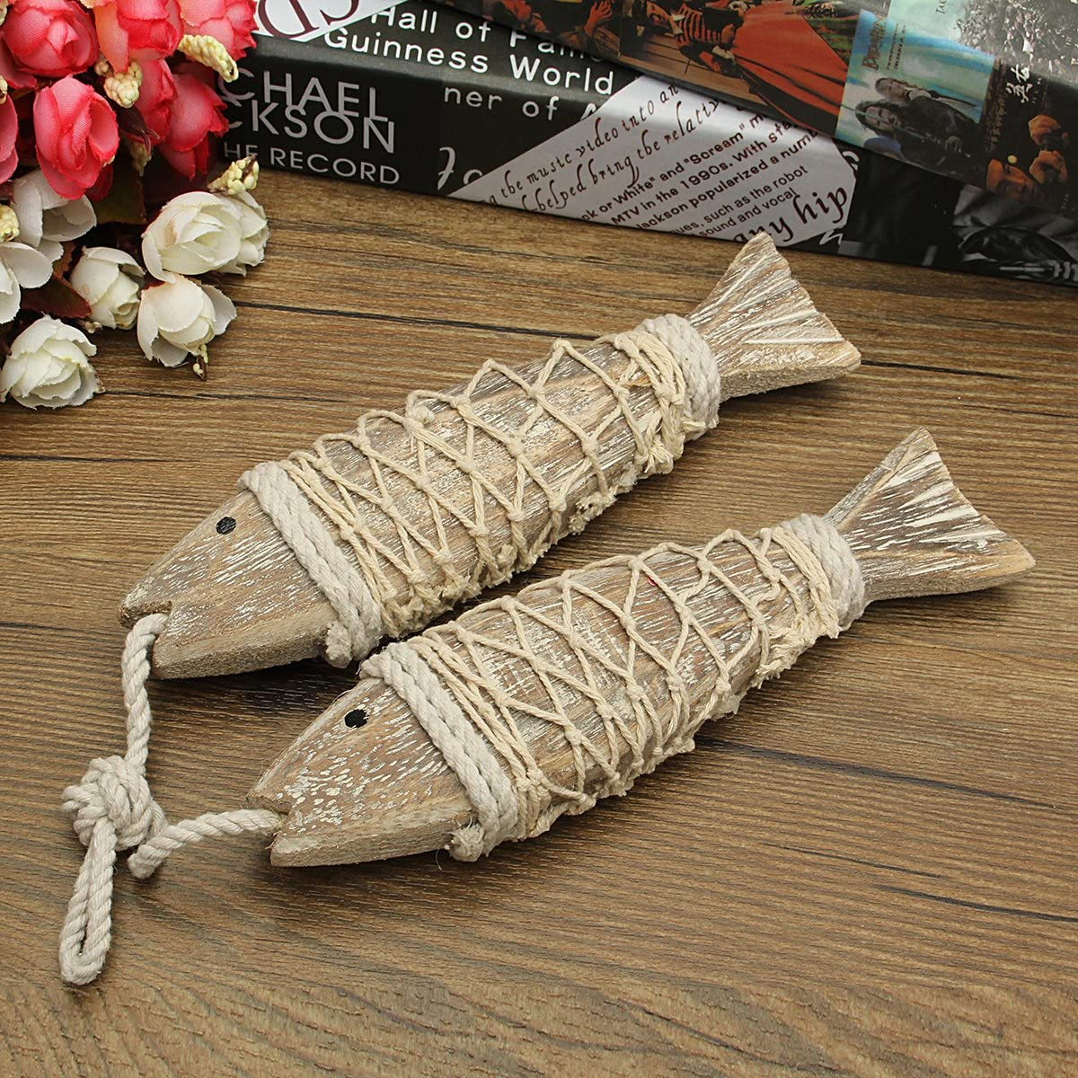 Wooden Hand Carved Hanging Fish