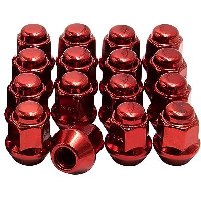 Wheel Accessories Parts Install Kit - ATV & UTV - Bulge Acorn (M17 Hex) - M10 1.25 (4 Lug)(Red): Automotive