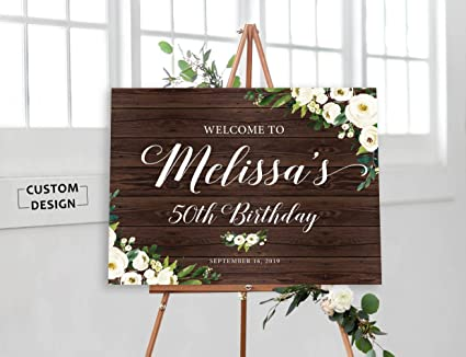 image relating to 50th Birthday Signs Printable named : SWQAA Birthday Welcome Signal, Rustic Birthday