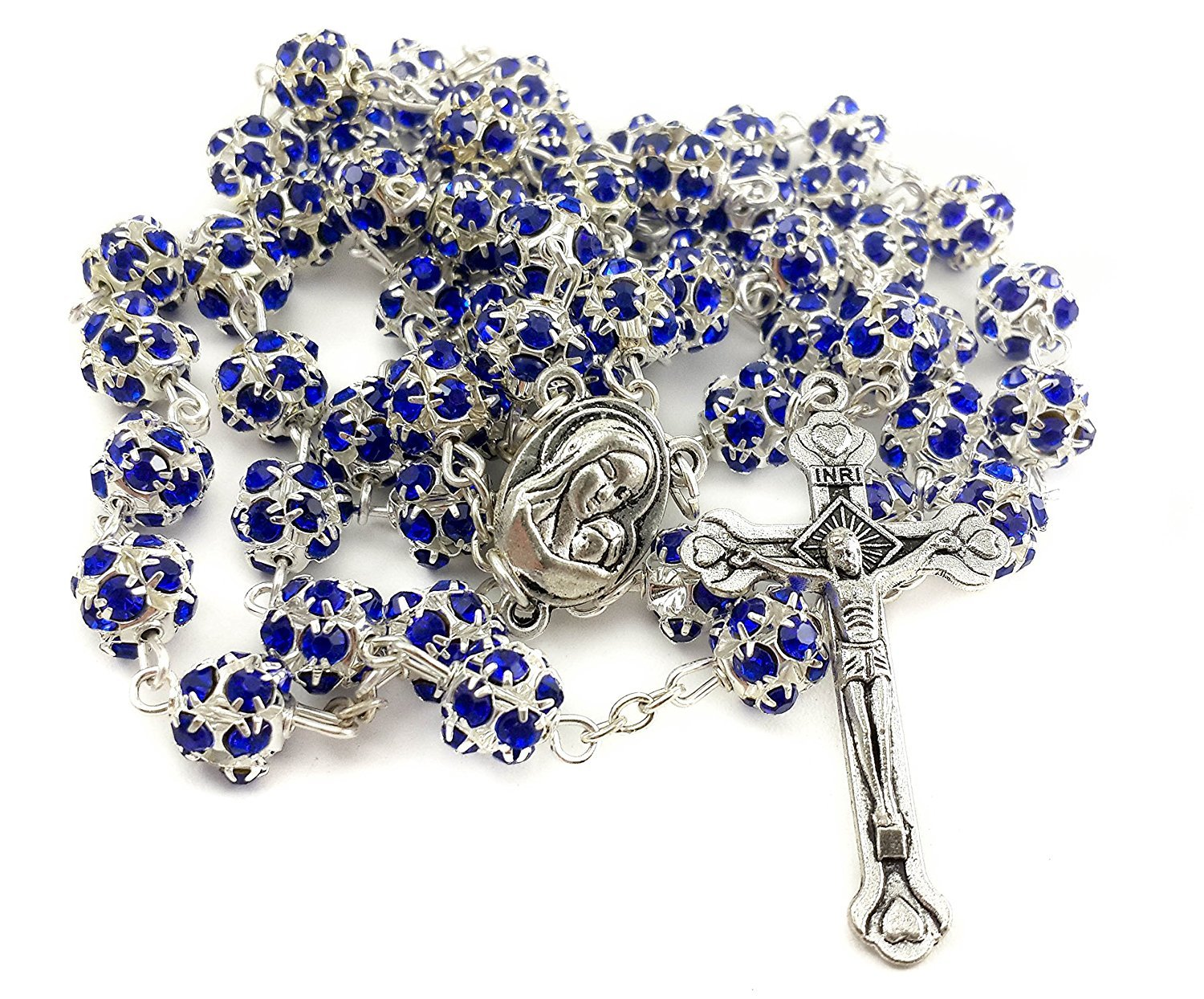 Catholic Rosary Blue Crystallized Beads Necklace with Holy Soil Medal & Metal Cross