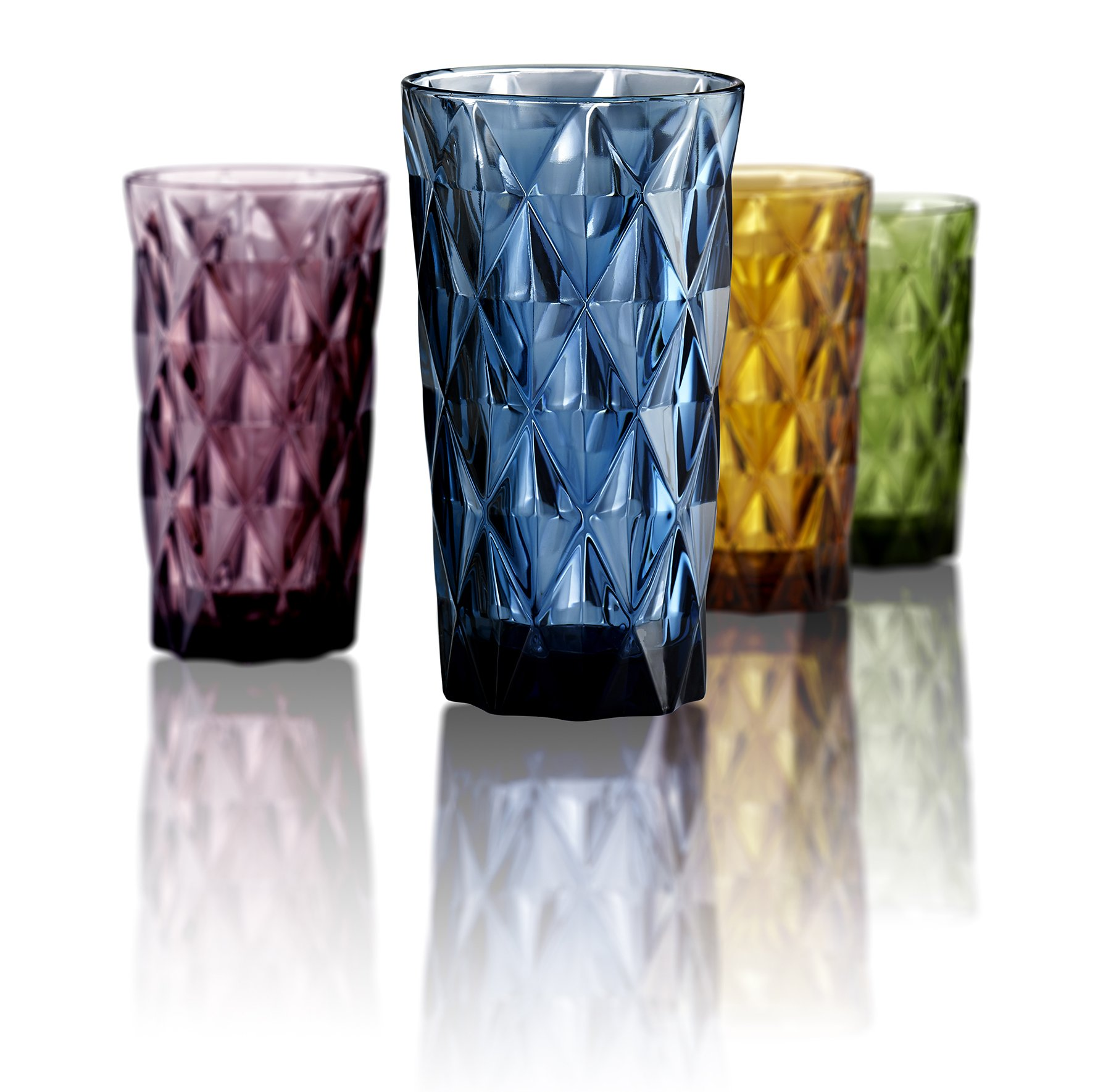 Artland High Gate 15 oz Assorted Colors Highball in a Gift Box (Set of 4), Small, Glass