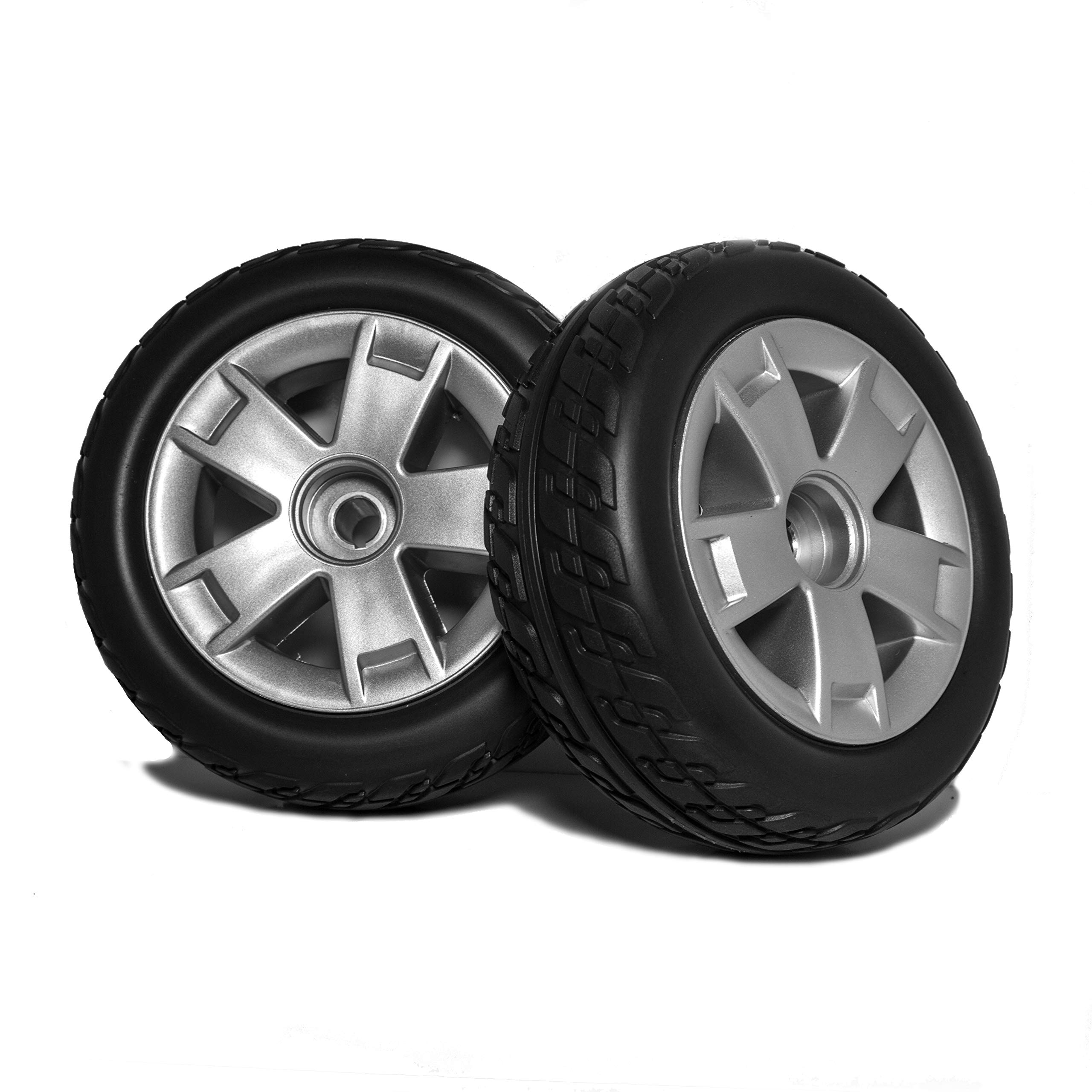 DW835 Pride Victory 9 3 or 4 Wheel Scooter Rear 9'' Wheels and Tire Replacement, (SC609/SC709) Also Victory ES9 and Mega Motion Rascal 9. Black Molded Non-Marking tire ans Silver Rim. Sold in Pairs by New Solutions