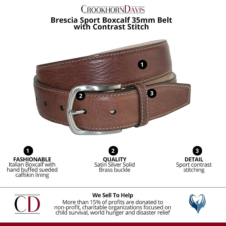 CrookhornDavis Mens Brescia Sport Boxcalf 35mm Belt with Contrast Stitch