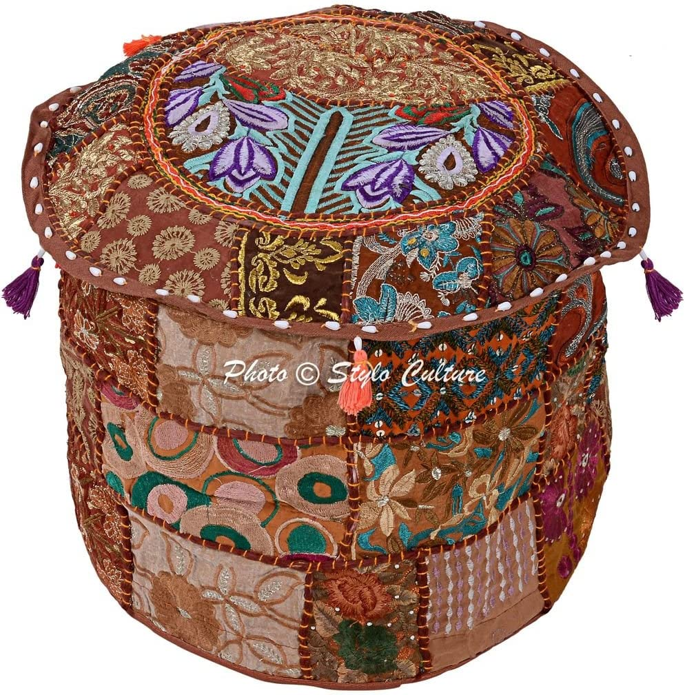 Stylo Culture Bohemian Footstool Vintage Fabric Patchwork 18